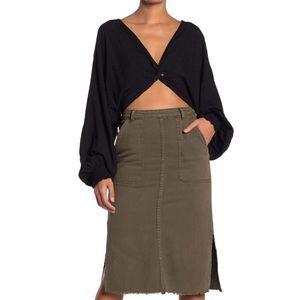 Denim Mini Skirt in Olive